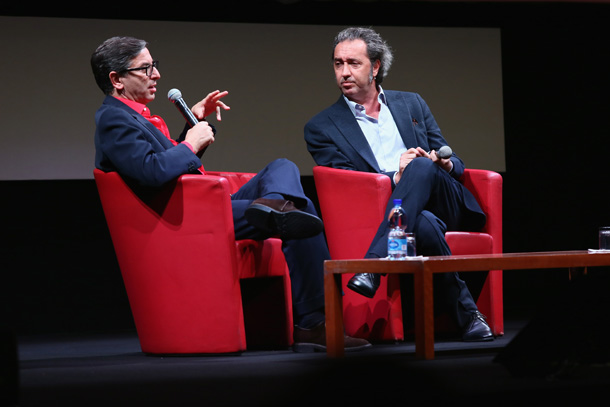 ROME, ITALY - OCTOBER 18: Antonio Monda and Paolo Sorrentino meets the audience during the 10th Rome Film Fest at Auditorium Parco Della Musica on October 18, 2015 in Rome, Italy. (Photo by Ernesto Ruscio/Getty Images) *** Local Caption *** Antonio Monda;Paolo Sorrentino