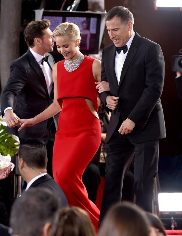 Jennifer Lawrence,e David O. Russell, Golden Globe Awards 2016 © Jordan Strauss/Invision/AP