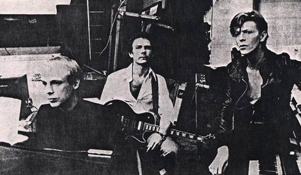 Brian Eno, Robert Fripp, David Bowie, 1977
