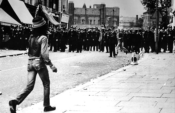 Don Letts at Notting Hill Carnival riots, 1976, London, UK
