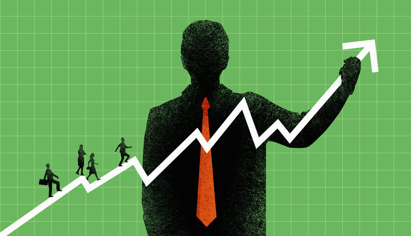 Large businessman supporting co-workers climbing ascending line graph chart