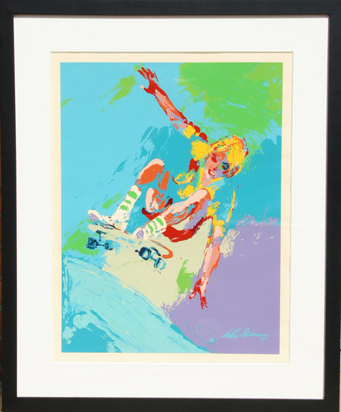 13) Dipinto Leroy Neiman Original Oil _the Skateboarder_