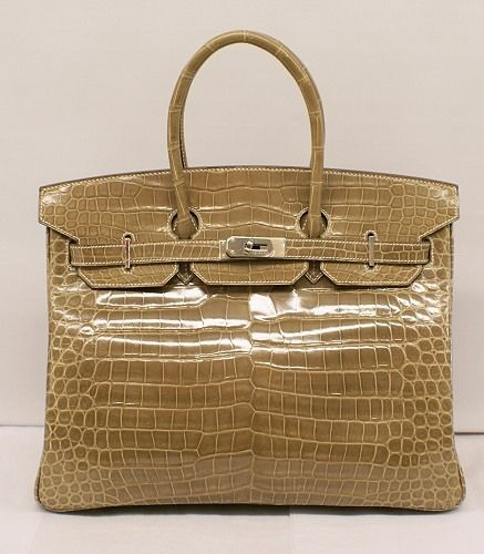 9) Borsa da donna Hermes Birkin Meil Brown Shiny Crocodile POROSUS