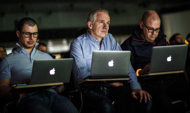 men working laptop computers