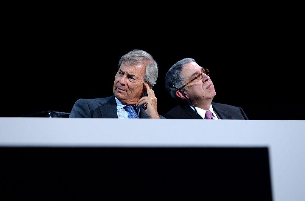 Vincent Bolloré, presidente di Vivendi e il ceo Arnaud de Puyfontaine all'ultima assemblea del gruppo a Parigi. Eric Piermont/AFP/Getty Images