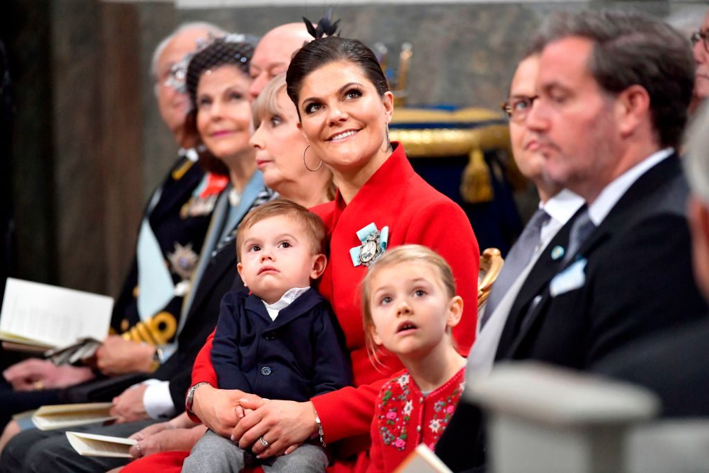 Crown princess Victoria with Prince Oscar, Prince Daniel and Mr Christopher O'Neill attend baby Prince Gabriel's christening in Drottningholm Palace Chapel outside Stockholm, 1 December, 2017. Prince Gabriel is the second son of Prince Carl Philip and Princess Sofia of Sweden. / AFP PHOTO / TT News Agency / Jonas EKSTROMER / Sweden OUT (Photo credit should read JONAS EKSTROMER/AFP/Getty Images)
