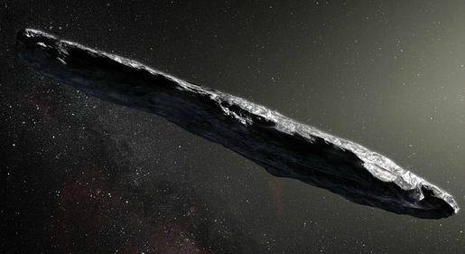 Una ricostruzione artistica dell'asteroide interstellare 1I/2017 U1, battezzato 'Oumuamua. ESO/M. Kornmesser