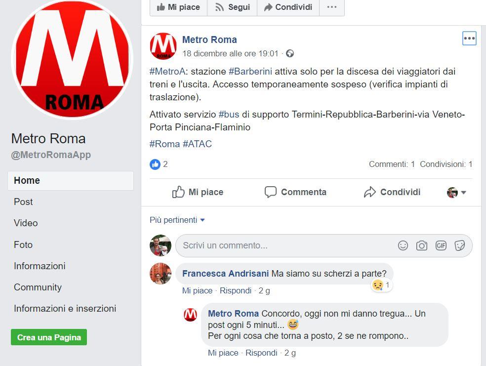 Un post della NMetropolitana di Roma: da notare la risposta al commento sconsolato di un'utente...