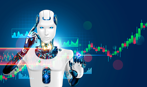 Robot trading on stock market. Artificial intelligence of forex broker with analyzing business charts with investment financial data. Computer software of trade on stock exchange. Cyborg trader.