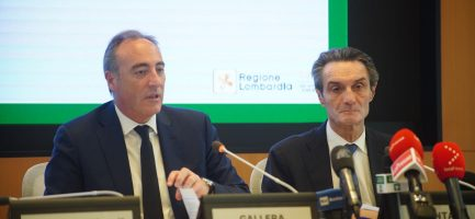 Giulio Gallera, assessore regionale alla sanità e Attilio Fontana, presidente regione Lombardia. Imagoeconomica