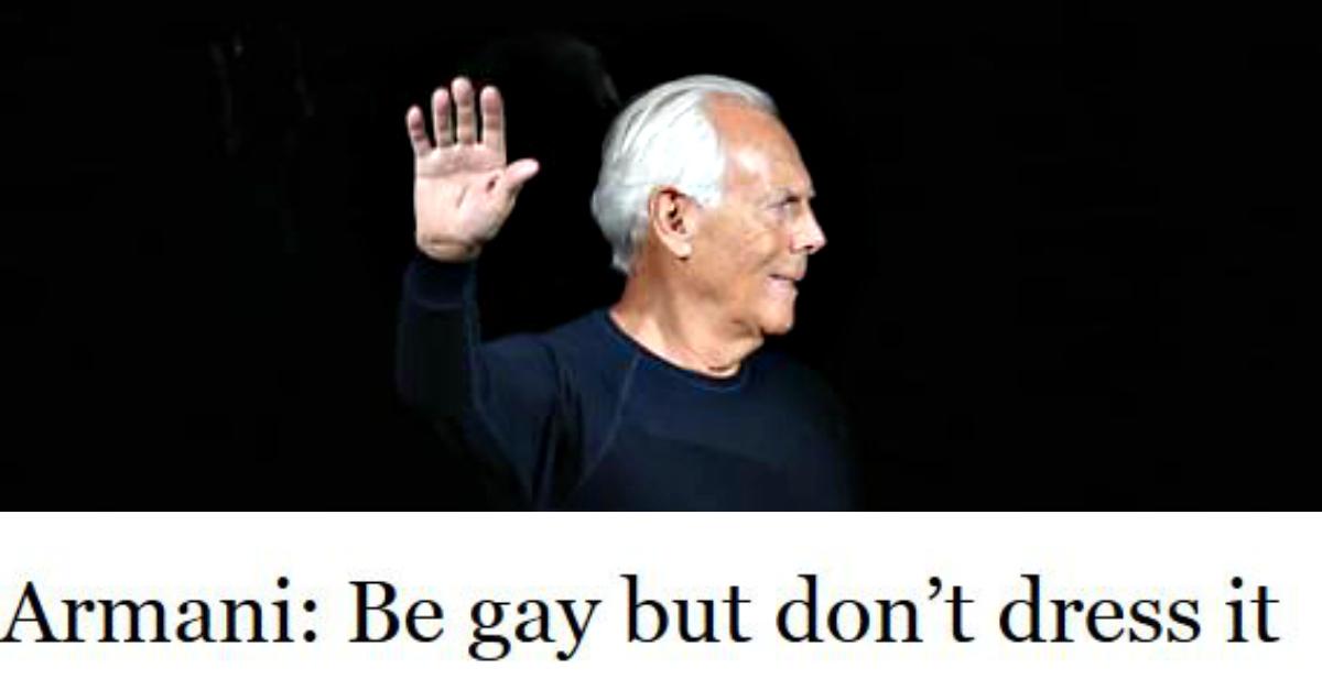 """Chiacchiere Da Bar, Armani:""""Non vestitevi da omosessuali"""", la candid a Napoli, MotoGp: Rossi c'è"""