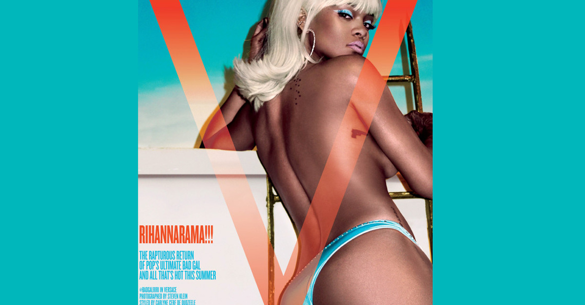 Rihanna, bionda e in topless, ecco la sexy copertina di V Magazine