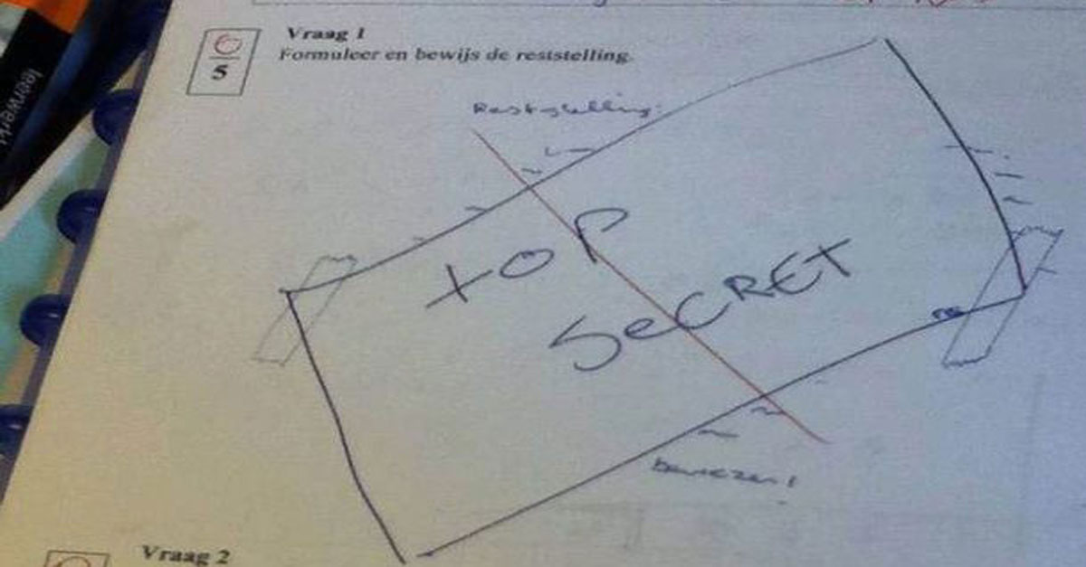 Risposta sbagliata, 10 buffi tentativi per cercare di salvare il compito
