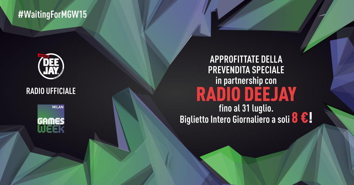 Con Radio Deejay vai alla Milan Games Week ad un prezzo molto speciale!