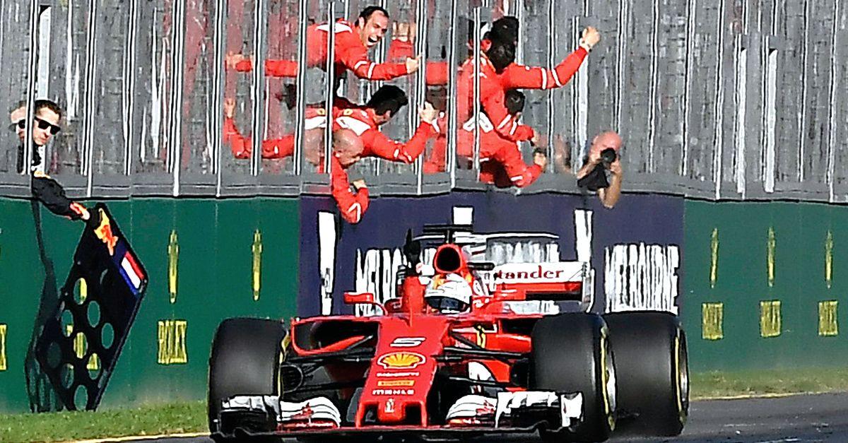 """""""Forza Ferrari, questa è per noi"""": Vettel esulta in italiano subito dopo la vittoria del GP"""