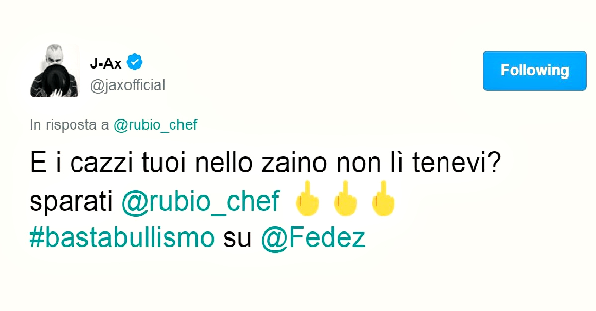 """L'ironia di Chef Rubio su Fedez scatena J-Ax: """"sei proprio un morto di fama"""""""