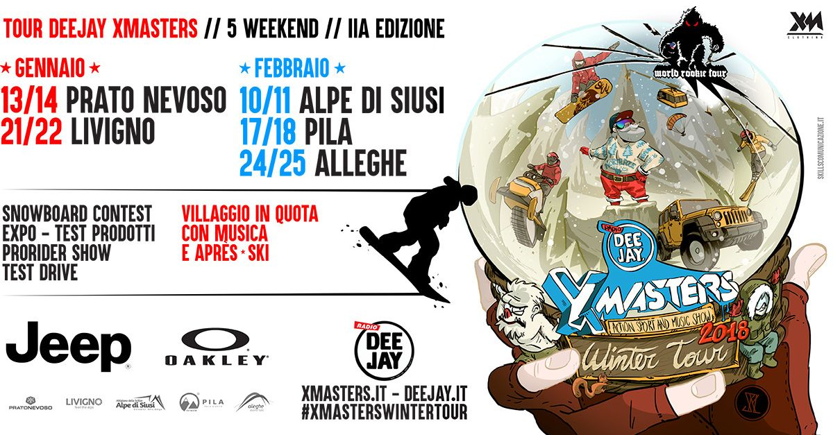 Torna Deejay Xmasters Winter Tour: 5 tappe nel 2018 all'insegna di musica e action sport