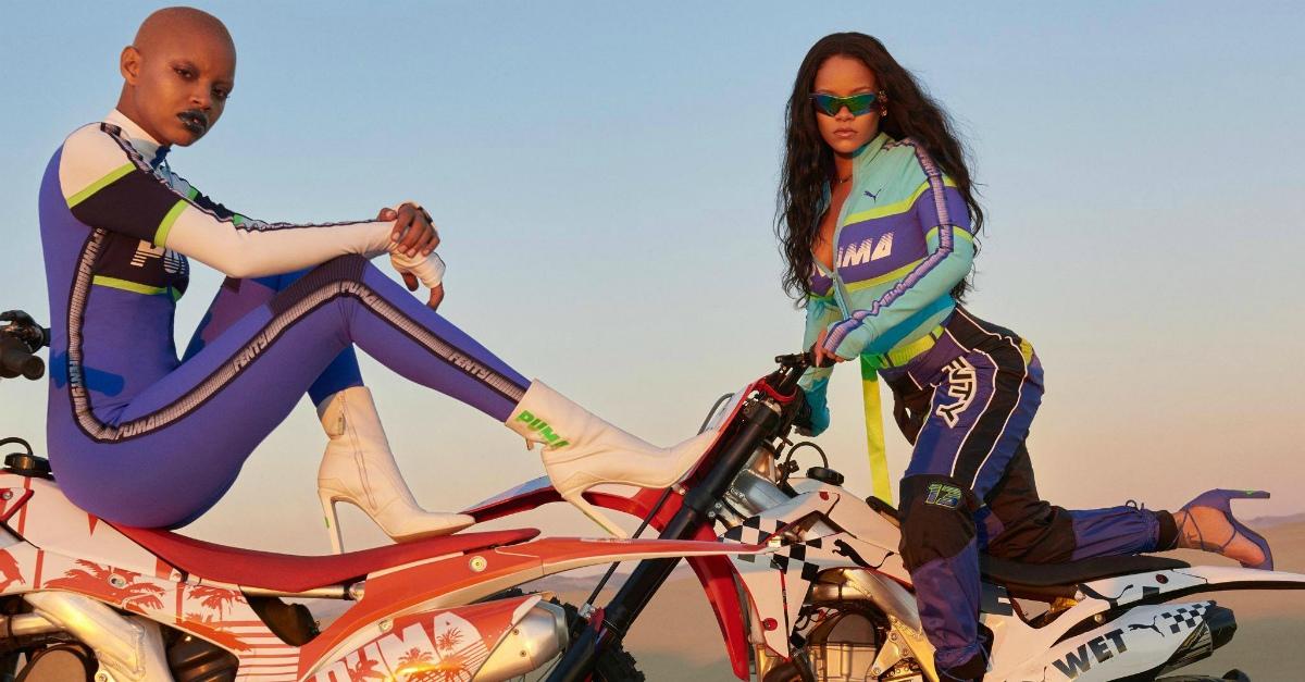 Rihanna in sella a una moto da cross: le prime immagini della campagna Fenty