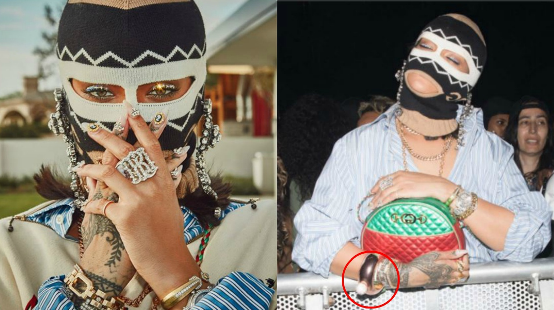 Rihanna al Coachella, passamontagna e bracciale-fiaschetta