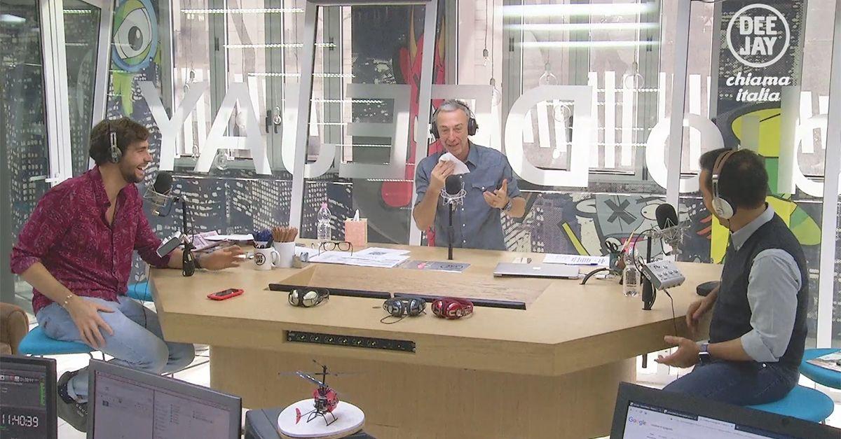 """Linus, epistassi in diretta durante l'intervista ad Alvaro Soler: su Instagram rassicura """"Non dite che non do il sangue"""""""