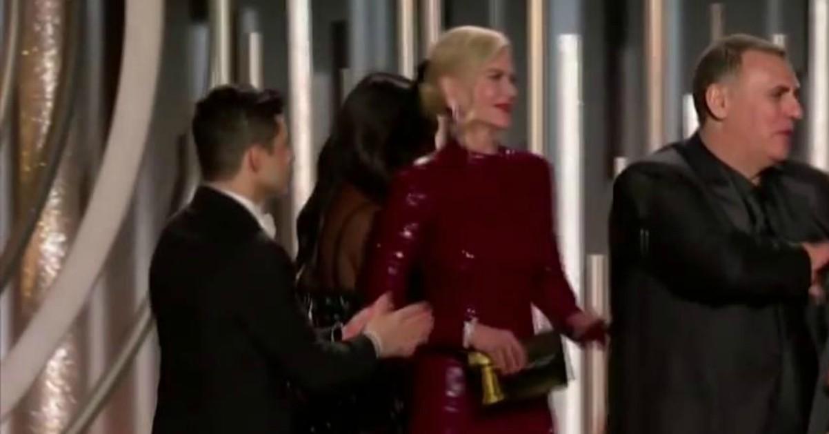 Golden Globe. Che imbarazzo Rami Malek: prova a salutare Nicole Kidman, ma lei lo ignora