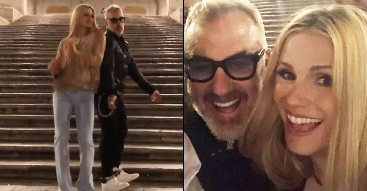 Roma, Michelle Hunziker ballerina per Gianluca Vacchi: la performance in Piazza di Spagna