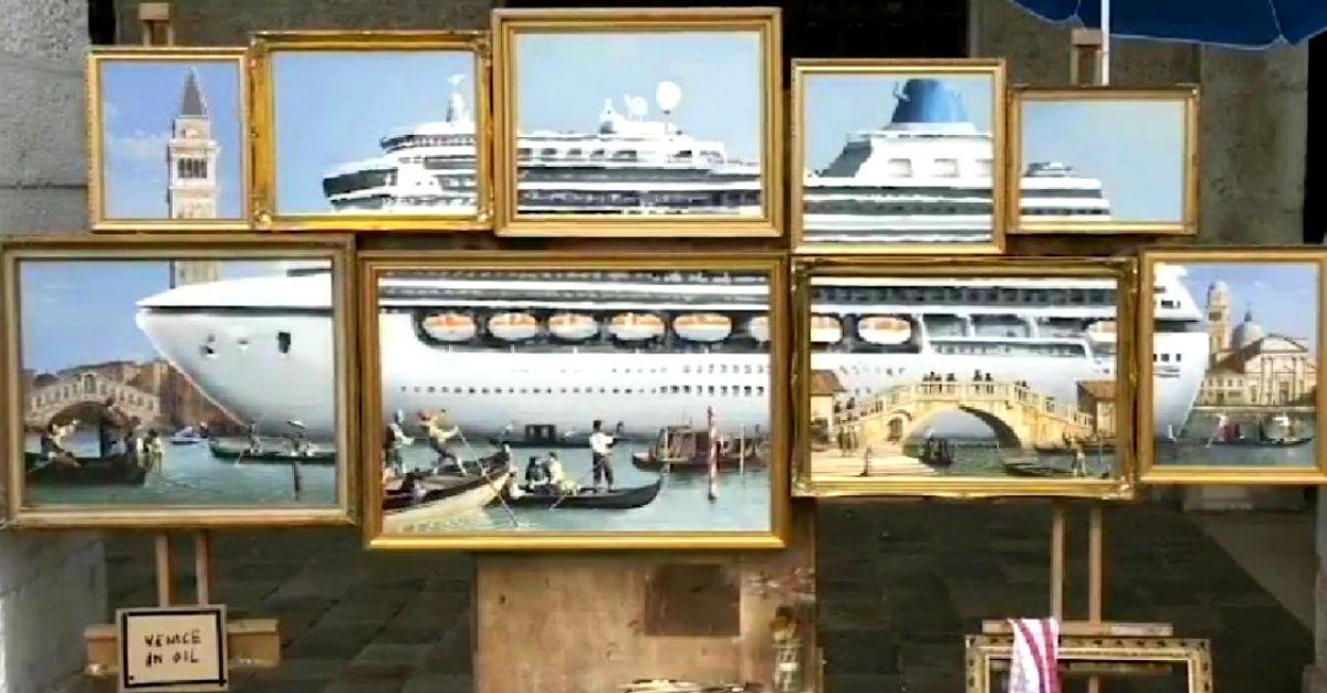 Banksy, nuovo colpo a Venezia: espone un'opera in strada ma la polizia fa sgomberare