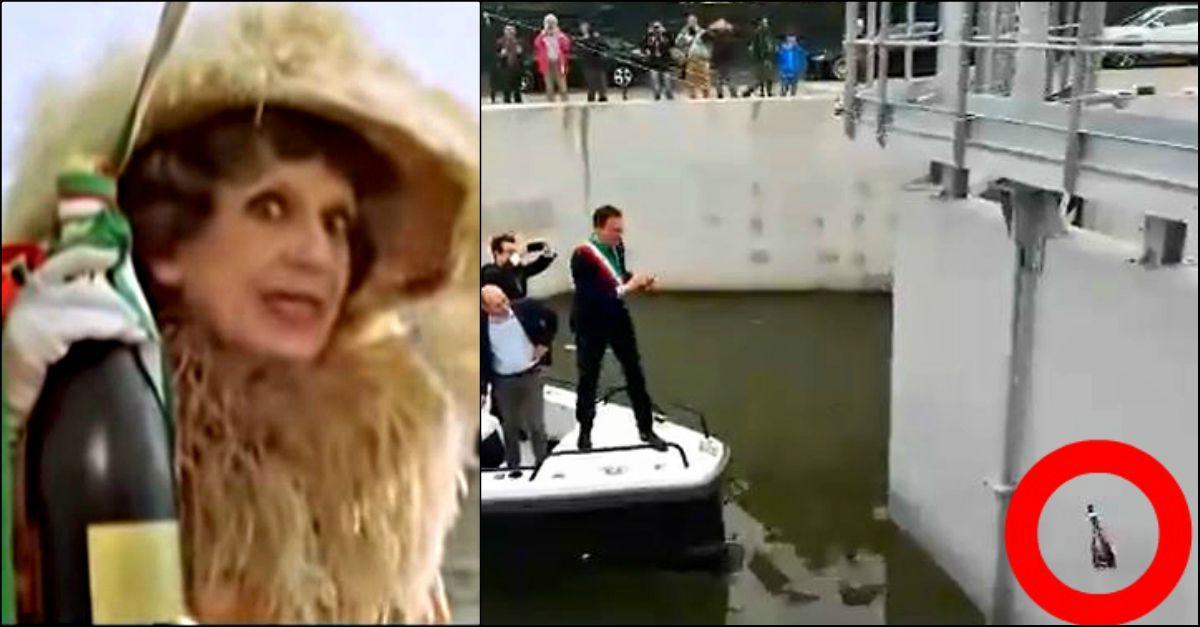 Il varo del sindaco di Pisa sembra uscito dal film di Fantozzi: il video diventa virale