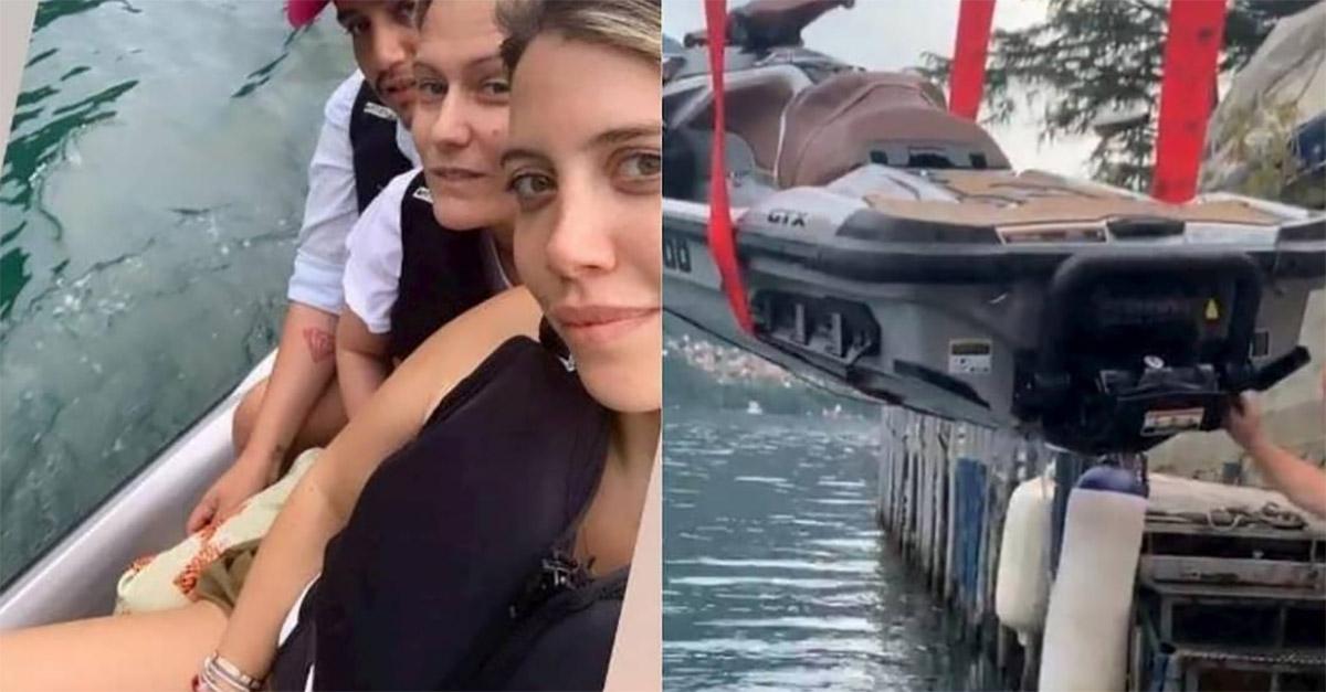 Wanda Nara finisce nel lago di Como con la moto d'acqua: il video del recupero