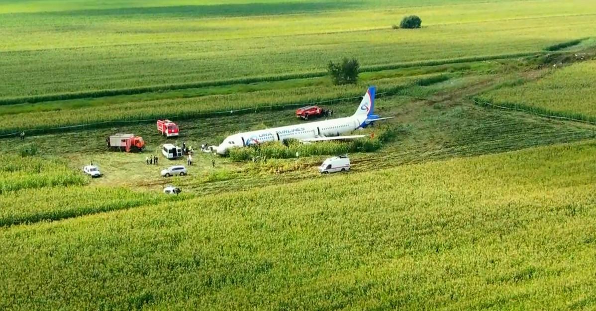 Atterraggio d'emergenza senza carrello in un campo di grano: i video dei passeggeri