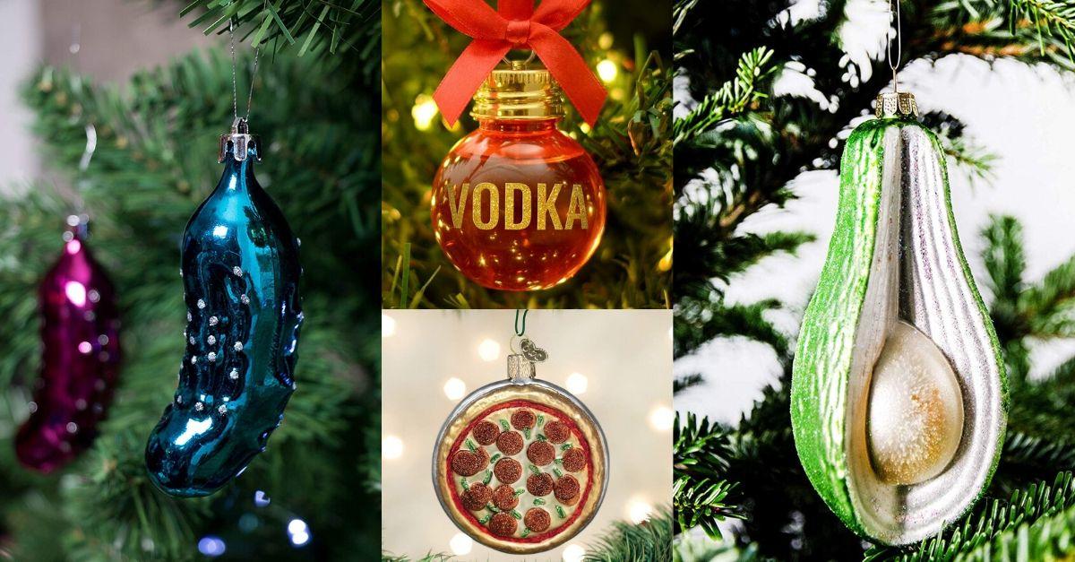 Strane decorazioni per il tuo albero di Natale: dalla palla con la vodka alla pizza