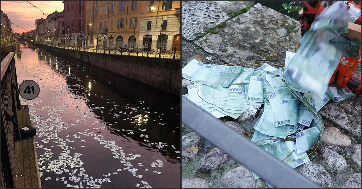 Mistero a Milano, migliaia di banconote (false) da 100 euro galleggiano sul Naviglio