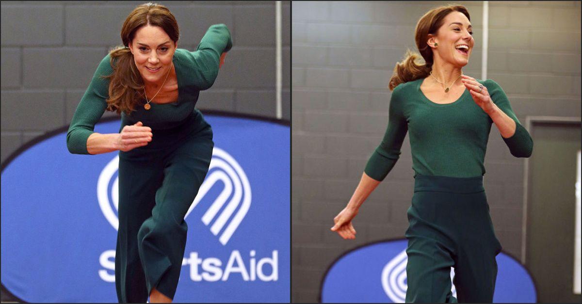 Pantaloni larghi Zara, maglia Mango e sneakers: il look di Kate Middleton in versione sportiva