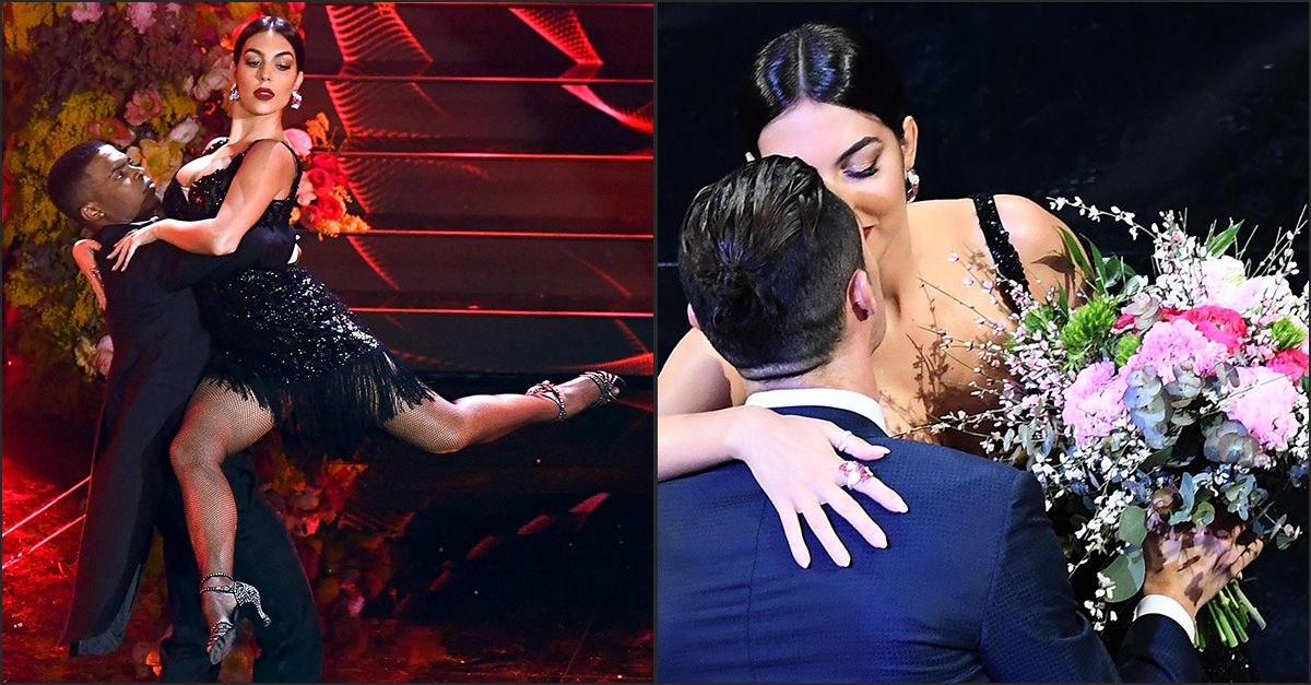 Sanremo, Georgina Rodriguez balla il tango e poi bacia Ronaldo seduto in prima fila