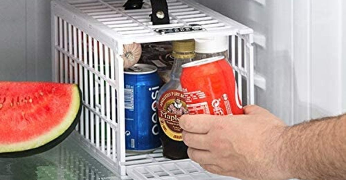 Ecco la gabbia di sicurezza per gli alimenti in frigo. I coinquilini sono avvisati