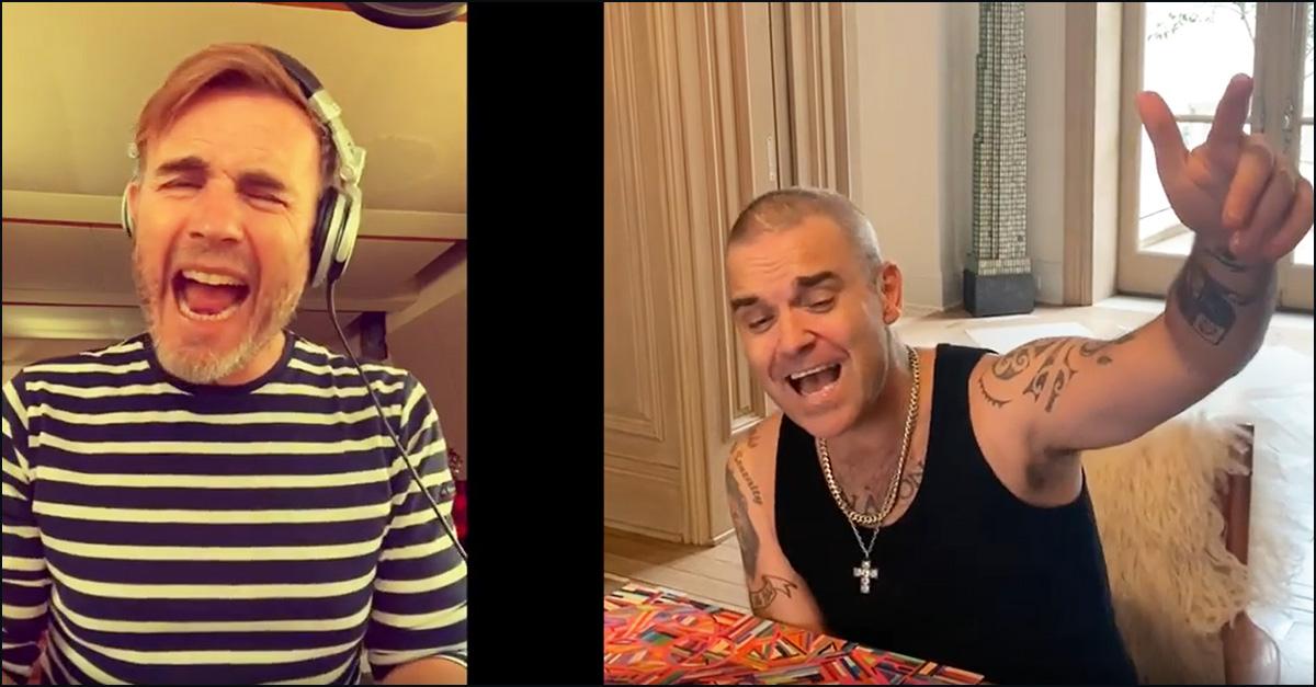 Take That in quarantena, l'imperdibile duetto di Robbie Williams e Gary Barlow