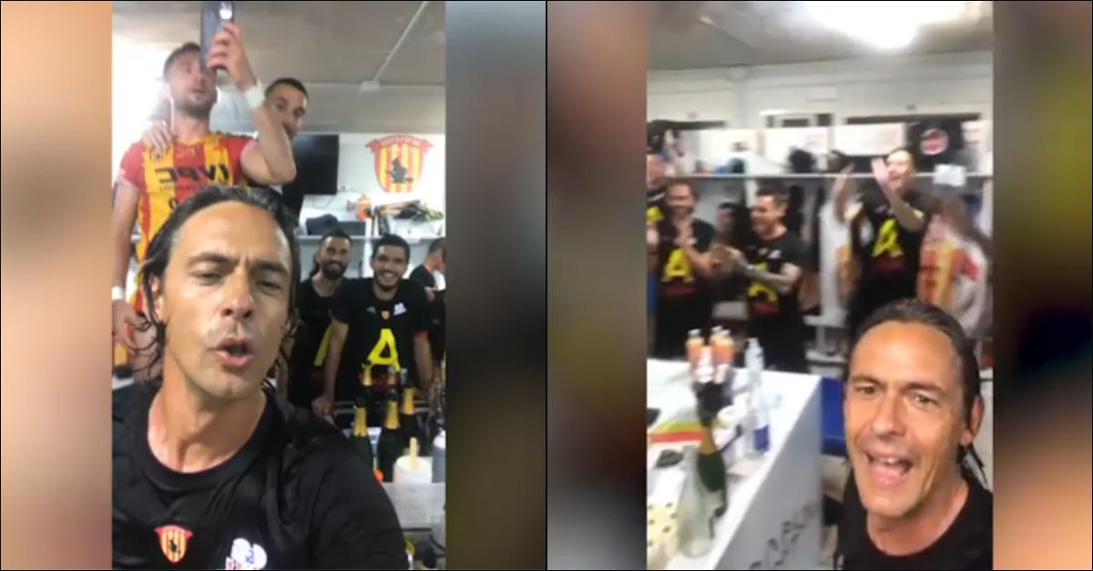 """Benevento in Serie A, Pippo Inzaghi scatenato nello spogliatoio: """"L'anno prossimo gioco all'Olimpico!"""""""