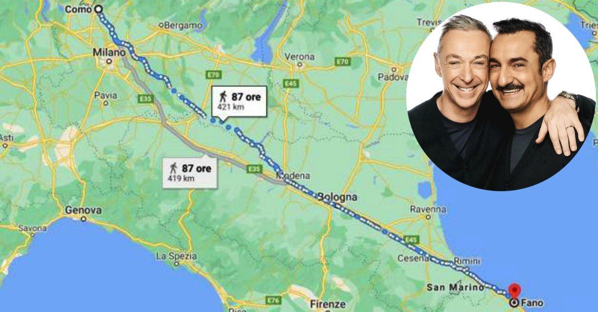 Litiga con la moglie e va a piedi da Como a Fano: il commento di Linus e Nicola