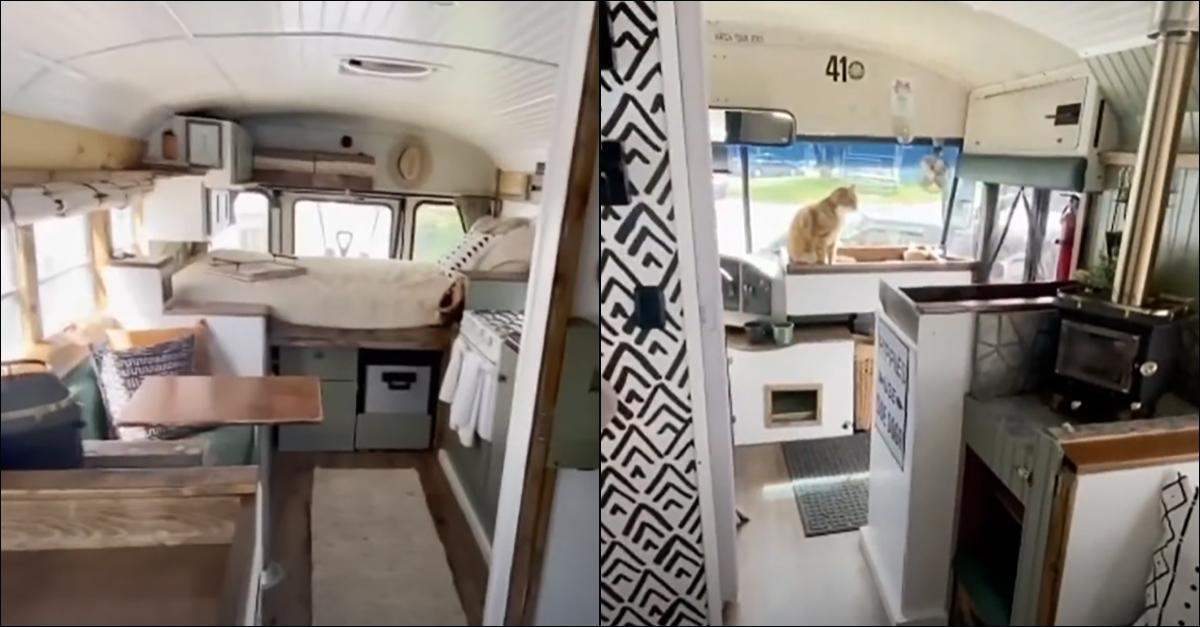 Usa, lasciano tutto per viaggiare a bordo di un vecchio scuolabus trasformato in casa