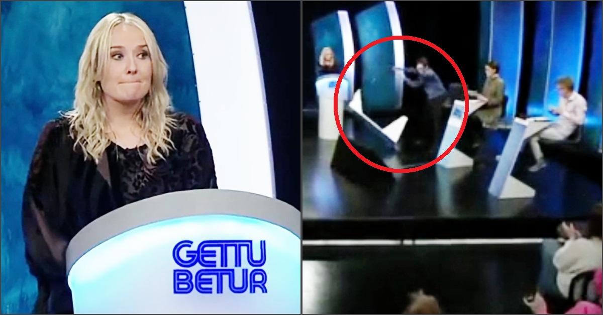 Islanda, concorrente perde la sfida in tv e distrugge lo studio: il video