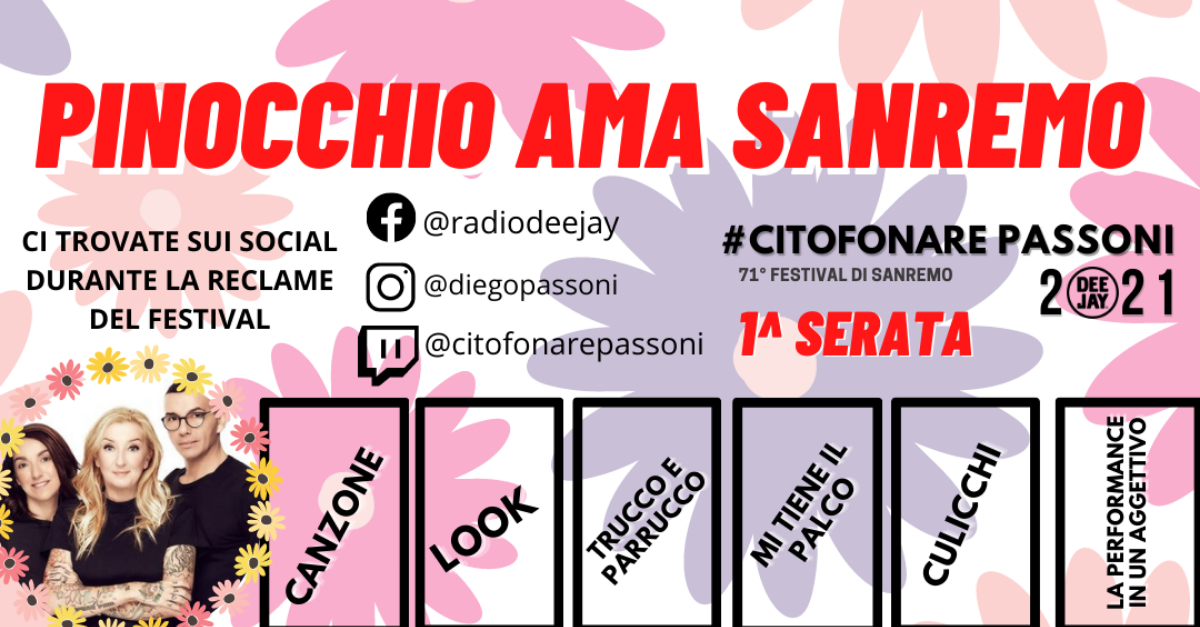 Pinocchio presenta le schede di Sanremo 2021 da scaricare. Votate con noi!