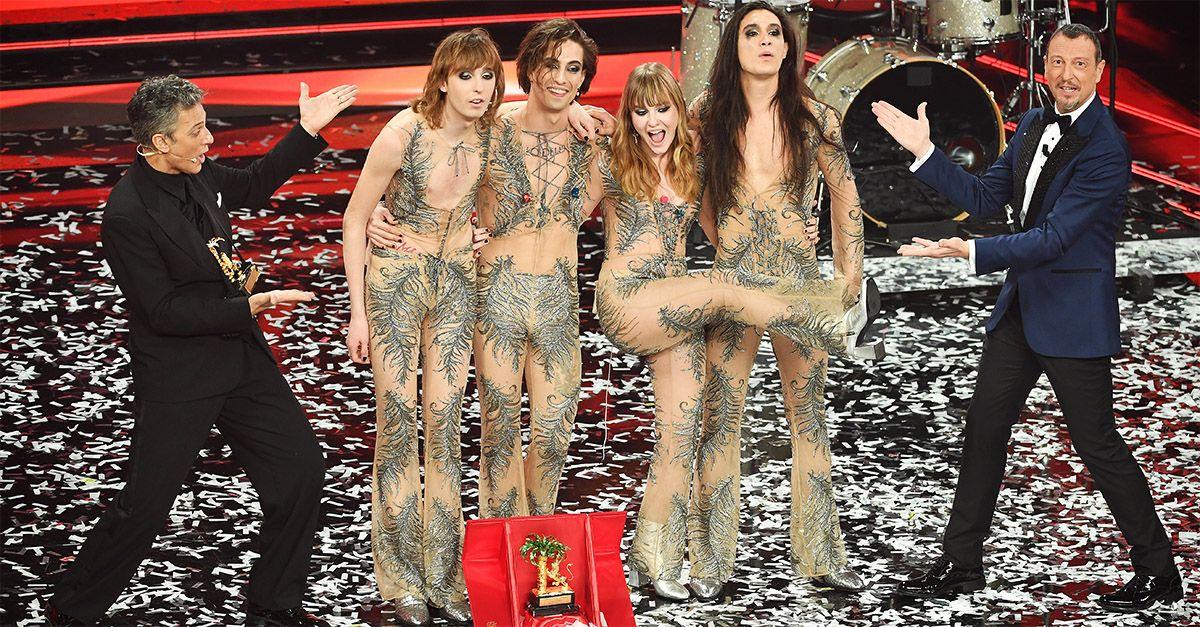 Sanremo, il trionfo dei Maneskin. Secondo posto per Fedez e Michielin, terzo Ermal Meta