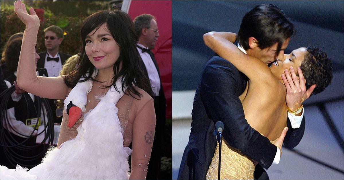 I momenti più assurdi della storia degli Oscar: dall'abito-cigno di Bjork al bacio di Adrien Brody