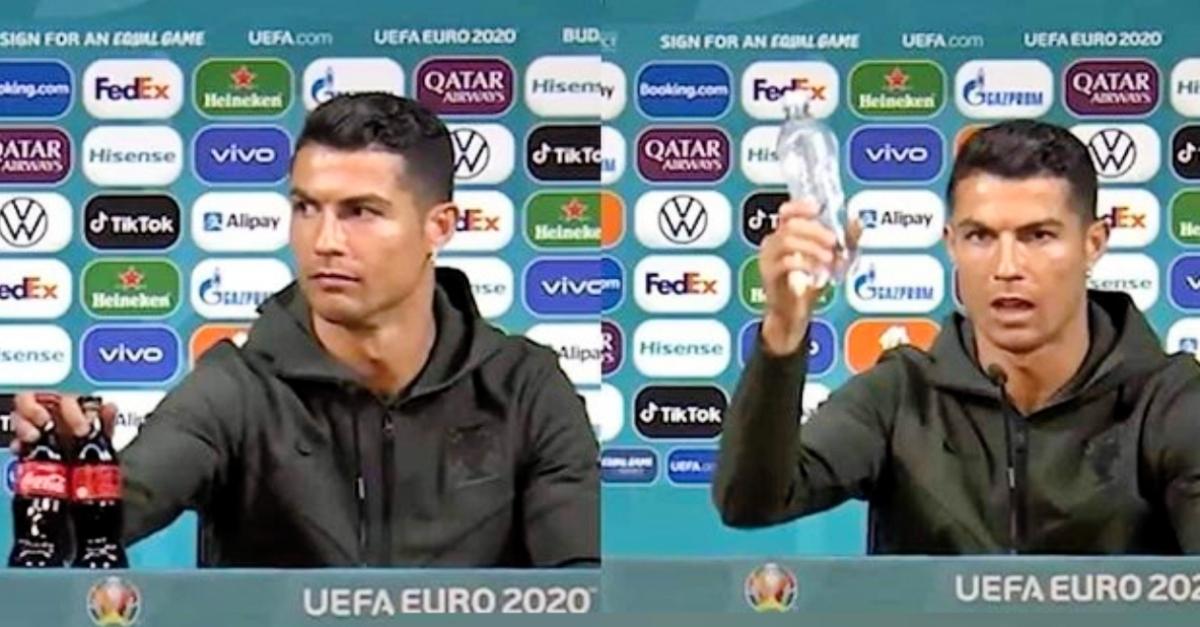 """Euro 2020, Cristiano Ronaldo nasconde la Coca Cola in conferenza stampa: """"Bevete acqua"""""""