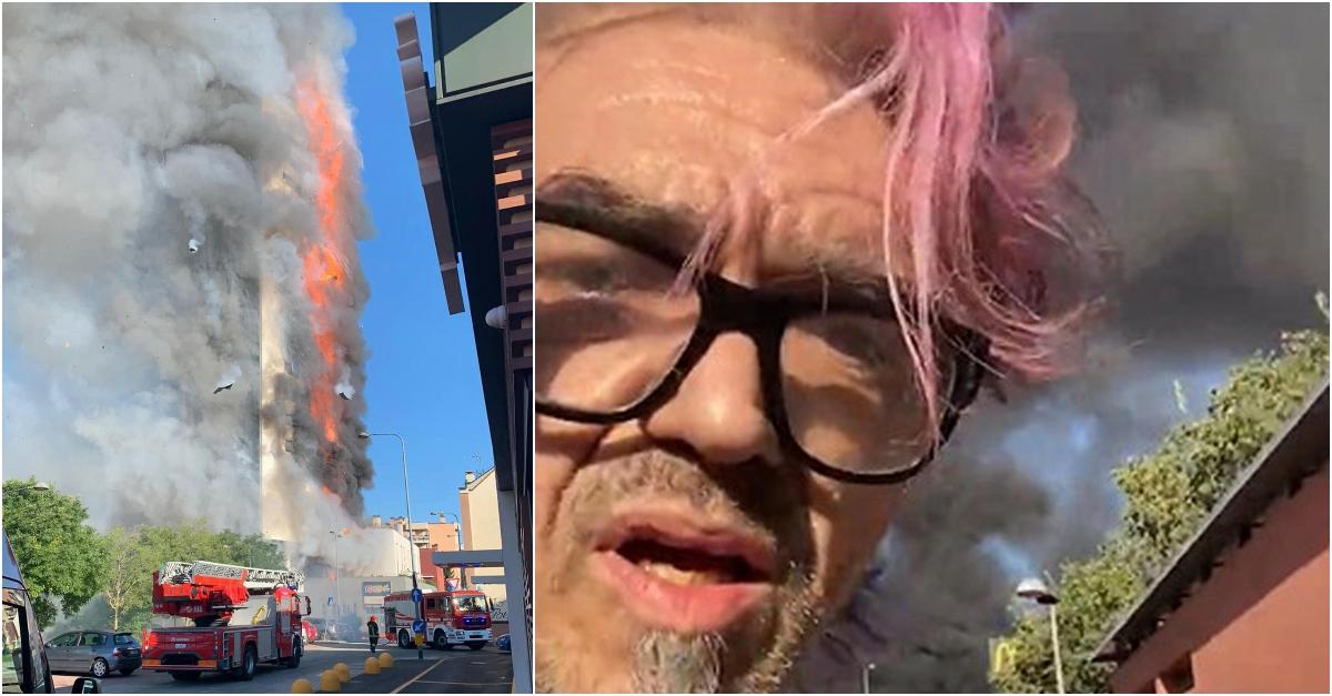 Incendio nel palazzo di Milano: Morgan e Mahmood scappano con gli inquilini