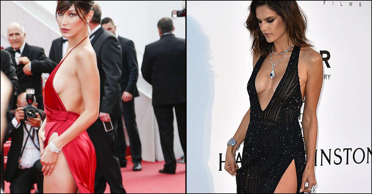 Alessandra Ambrosio sfida Bella Hadid, guerra di spacchi e scollature a Cannes