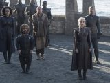 Nathalie Emmanuel as Missandei, Peter Dinklage as Tyrion Lannister, Conleth Hill as Varys, Emilia Clarke as Daenerys Targaryen, and Jacob Anderson as Grey Worm – Photo: Macall B. Polay/HBO