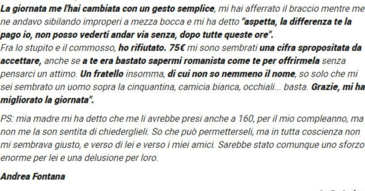Roma-Liverpool: la lettera del tifoso al benefattore sconosciuto