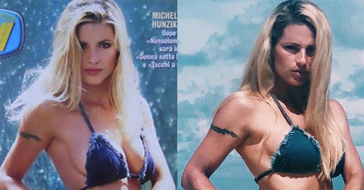 Michelle Hunziker, nulla è cambiato: 20 anni dopo posa con lo stesso bikini