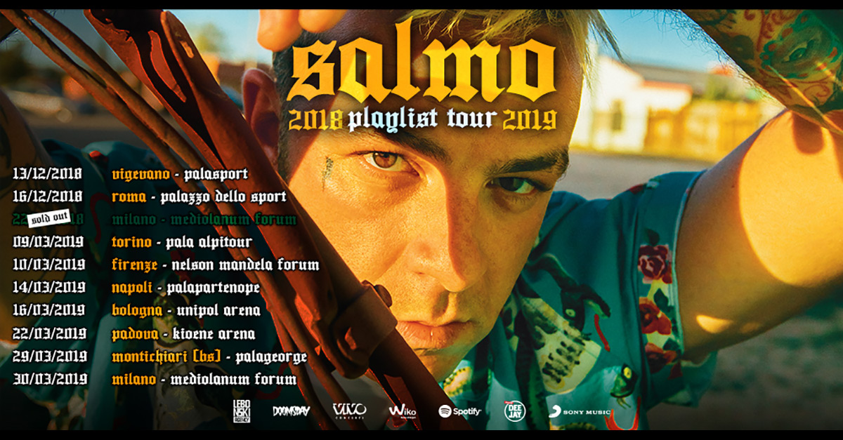"""Salmo annuncia """"Playlist Tour 2019"""": nei pallazzetti a Marzo"""